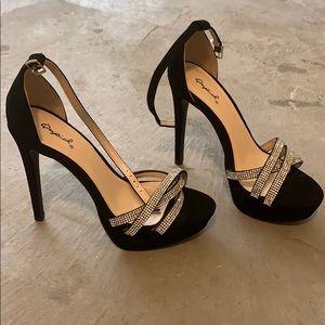 Qupid 6 Inch Black Suede/Bling Formal Heels